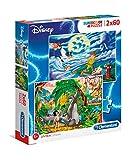Clementoni- Disney Peter Pan + The Jungle Book 2 Puzzles, 60 Piezas, Multicolor (21613)