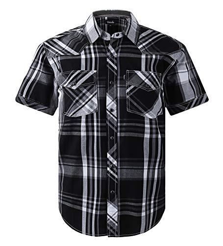 Men's Western Snap Casual Shirt Two Pocket Short Sleeve Shirt(blkgreywh,XLG)