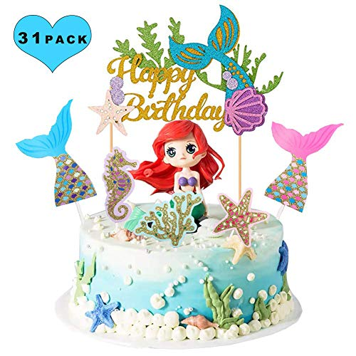 Sunshine smile Topper für Sea Party, kuchendeko Tiere Geburtstag, Babyparty und Hochzeitsfeier Topper, Ocean Kuchendekoration, Cupcake meerjungfrau (Meerjungfrau 31 Stück)