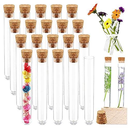 Reagenzglas, 20 Stück Reagenzglas für Blumen, Reagenzglas mit Korken, Kunststoff Transparent Reagenzgläser, für Blumen Süßigkeiten Badesalz Gewürze mit Korken (150 * 16MM, 20ML) (A)