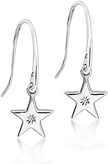 Lily & Lotty 镀铑 925 纯银手工镶嵌钻石Zilla 星星闪亮吊坠耳环