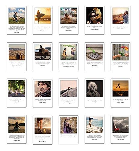 Achtsamkeit, Lebensweisheiten, inspirierende Zitate mit Bildern 20 verschiedene Postkarten Set im