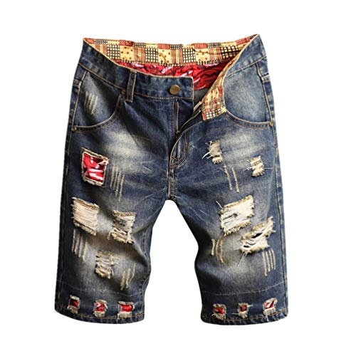 iHPH7 Shorts Jeans Ripped Denim Casual Fashion Ripped Casual Shorts with Hole Men (36,15- Gray)