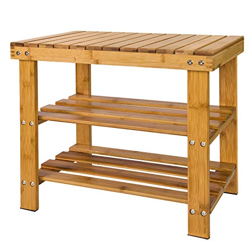 SoBuy Schuhregal Sitzbank Schuhbank aus hochwertigem Bambus mit 2 Jahren Garantie B50cm FSR02-K-N