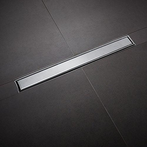 Wakects Duschrinne für den Boden, flache Ablaufrinne für Bodenablauf, Ablaufrinne für Bodendusche aus geraden Fliesen, drehbar um 360 Grad (100 cm)
