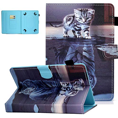 UGOcase Universal Case for 7.0 Inch Tablet, PU Leather Multi-Angle Stand Magnetic Cover with Card Slots for Galaxy Tab E 7.0/ Tab A 7.0/ Fire 7.0 2019 and More 6.5-7.5 inch Tablet - Cat & Tiger