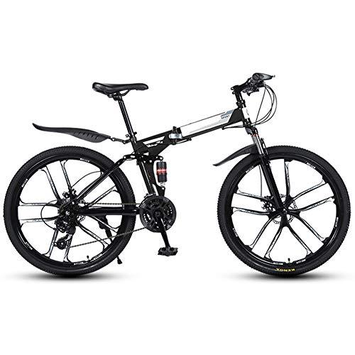 """KXDLR Erwachsene Mountain Bike 26\"""" Full Suspension 21 Geschwindigkeit Mens Womans Folding Fahrrad Mountainbike High Carbon Stahlrahmen Mit Doppel Stoßdämpfer,Schwarz"""