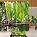 N / A Duschvorhang im Badezimmer, Buddha-Statue, Bambus-Badschutz, Inneneinrichtung, Polyestergewebe, wasserdichter und schimmelresistenter Duschvorhang A2 150x180cm