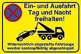 Einfahrt freihalten Schild 30 x 20 cm Ein- und Ausfahrt Tag und Nacht freihalten - Widerrechtlich...