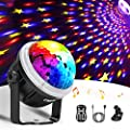Disco Lights, OMERIL Music Activated Disco Ball Lights with Star Pattern, 11 RGBY Color Effects, 360° Rotatable Party Light with Remote Control for Kids Birthday, Christmas Party, Wedding, USB Powered