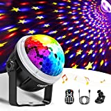 Discokugel LED Party Lampe OMERIL Partylicht mit Sternenmuster 10 Farbe RGBY Musikgesteuert 4M USB...