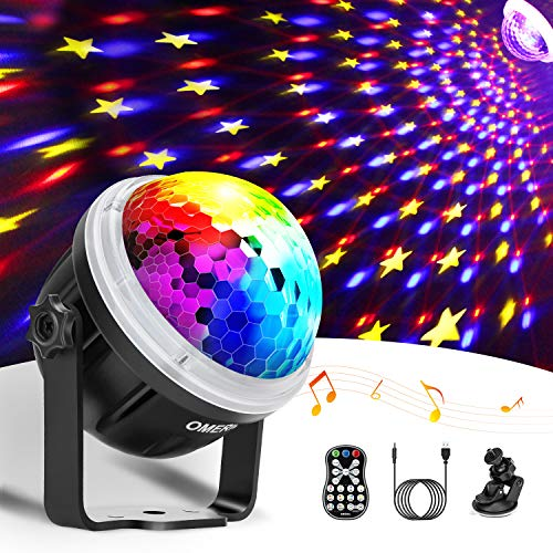 Discokugel LED Party Lampe OMERIL Partylicht mit Sternenmuster 10 Farbe RGBY Musikgesteuert 4M USB Disco Lichteffekte 360° Drehbares Discolampe mit Fernbedienung für Weihnachten, Party, Kinder