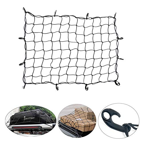 ARKSEN 36' x 60' Nylon Cargo Net Bungee Stretches Universal for Pickup Truck Bed SUV Rooftop Travel Luggage Rack 3'x5'