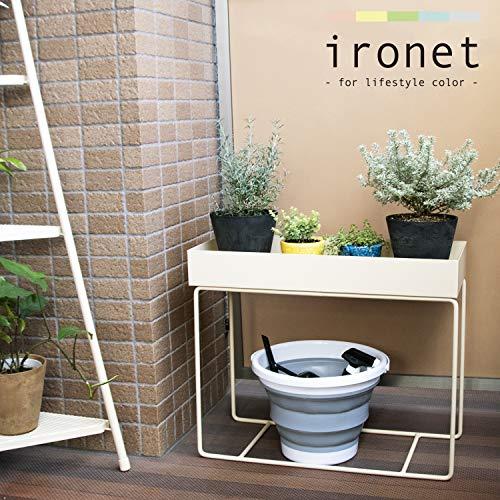 ironetアイアンフラワースタンドプランター大型ラック鉄製マルチ全6色おしゃれかわいいシンプルインテリア棚収納グリーン(オリーブ)