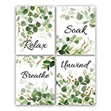ANHUIB 4er Set Badezimmer Poster,Aquarell Grüne Blätter