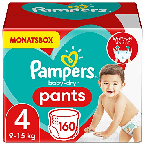 Pampers Größe 4 Baby Dry Windeln Pants, 160 Stück, MONATSBOX, Für Atmungsaktive Trockenheit (9-15kg)