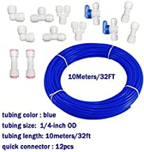 Malida Water purifier quick connector ,RO water 1/4 tubing, RO water filter fittings , 1/4 inch tubing blue 10 meters + quick connect Set Of 10