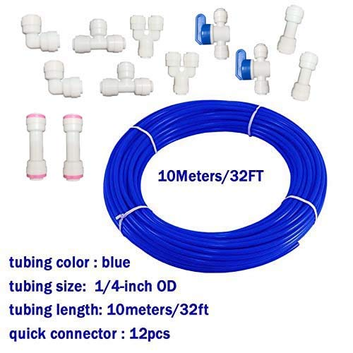 Malida Water Purifier Quick Connector,RO Water 1/4 tubing, RO Water Filter Fittings, 1/4 inch tubing Blue 10 Meters + Quick Connect Set of 10