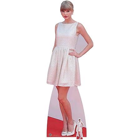 US-Way e.K. Expositor de cartón Taylor Swift White Dress, aprox. 185 cm, figura de cine, figura de cartón, tamaño real