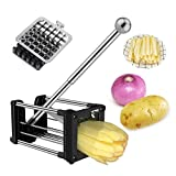 French Fry Cutter, Wosweet Professional Potato Chipper Homemade Chip Cutter with Round Bottom and 2 Interchangeable Blades