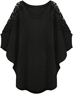 FRPE Women Loose Hollow Out Lace Stitching Batwing Sleeve Plus Size Top Blouse T-Shirt