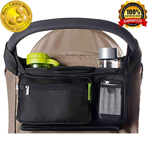 Mybabyly Baby Stroller Organizer with Cup Holders, Extra Storage & Secured Fit, Easy Installation- Universal Stroller Organizer for Smart Moms