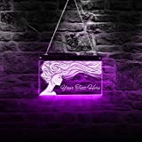 Long-haired Lady Beauty Salon Barber Shop Custom LED Multi Color Changing Light Wall Sign Rmote Control Lighted Advertisement Board Haircut Stylist Hairdresser Lighting Wall Art Decor