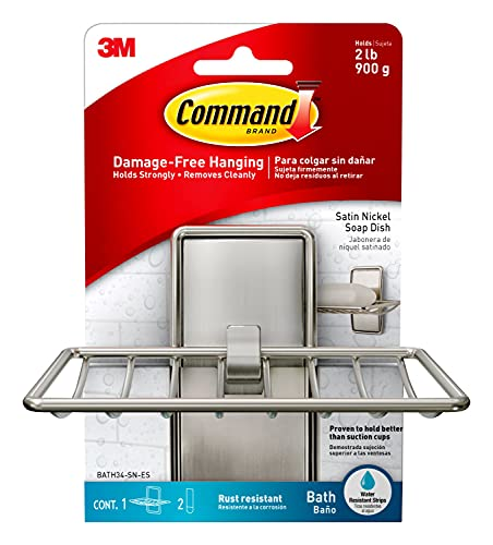 Command Soap Dish, Satin Nickel, 1-Soap Dish, 2-Water-Resistant Strips, Organize Damage-Free