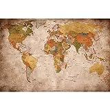 GREAT ART Mural de pared – Retro Mapa Del Mundo – Estilo Usado Mundial Continente...