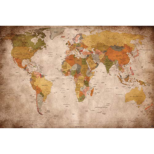 Great Art Wall Mural Wallpaper Used Look – Picture Decoration Globe Continents Atlas World Map Earth Geography Retro Old School Vintage Map Poster Wall Decor (132.3 x 93.7 Inch / 336 x 238 cm)
