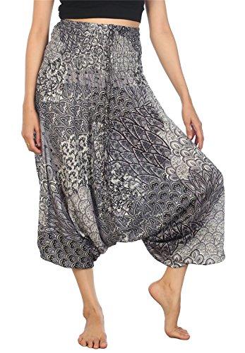 LOFBAZ Yoga Harem Pants for Women Boho Hippie Bohemian Clothing Womens Indian Beach Gypsy Clothes Maternity Genie Jumpsuit Peacock 1 Black B S