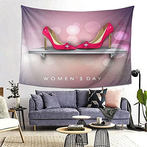 PATINISA Tapiz de Regalo,Moda Mujer Dama niña Sexy Tacones Altos en Zapatero Lunares,Tapiz Bohemio diseño para Colgar en la Pared,Sala de Estar Dormitorio 60x51in
