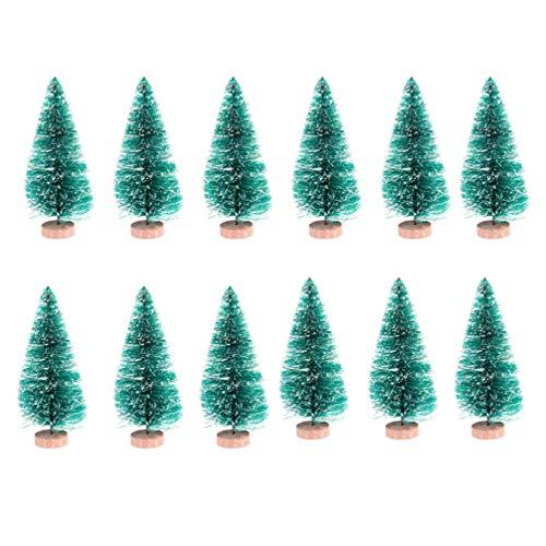 NUOBESTY 24 Stücke Mini Sisal Weihnachtsbaum Modell Bäume Schneetannen Weihnachten Miniatur Deko Figuren Kleine Tannenbaum Künstlicher Christbaum Tischdeko Micro Landschaft Dekoration