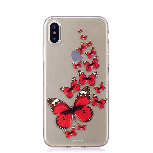 COZY HUT Custodia iPhone X Cover, Silicone Trasparente Morbida Clear Gel Caso, Ultra Slim Antiurto Anti-Graffio Bumper Case Cover per iPhone X - Farfalla Rossa