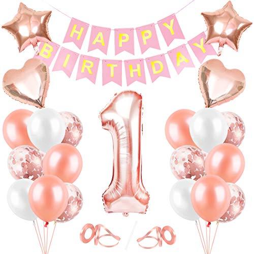 Globos de Cumpleaños 1 año, Decoración de Cumpleaños 1 en Oro Rosa, Feliz cumpleaños Decoración Globos 1 Años, Foil Globo Número 1 Oro Rosa, Decoracion Cumpleaños para Niñas y Mujeres