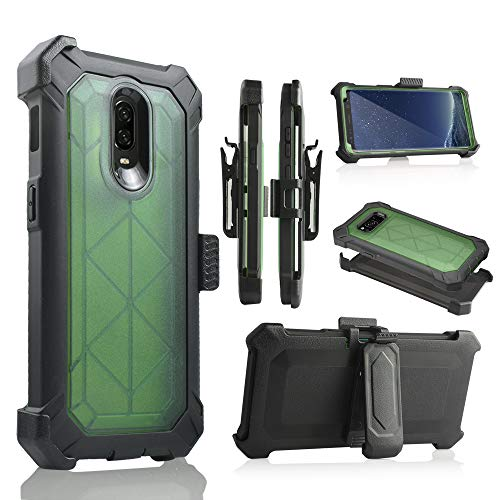 for OnePlus 6T Case, 6goodeals Built-in [Screen Protector] Heavy Duty Full-Body Rugged Holster Armor Case [Belt Swivel Clip][Kickstand] for 1+ 6T 2018 Release (Green)