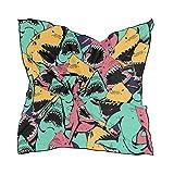 ALARGE - Bufanda cuadrada de seda colorida, diseño abstracto, protector solar, ligero y suave, para mujeres y niñas