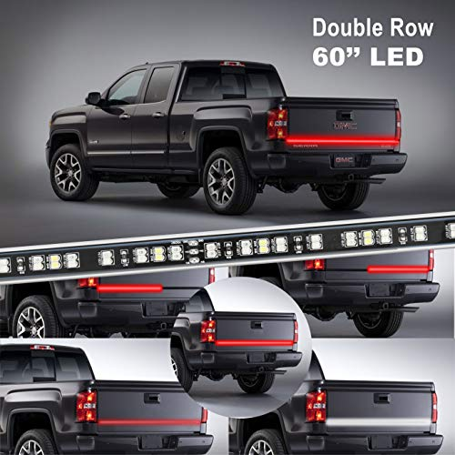 LED Truck Tailgate Light Bar Strip, KUFUNG 60 Inch 2-Row Waterproof Red White Reverse Brake Lights, Easy-to-install Turn Signal Running for Truck, SUV, RV, Trailer