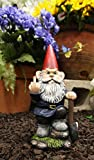 Ebros Rude Garden Greeter Go Away! Gnome Dwarf Flip The Bird Statue Patio Outdoor Poolside Garden Figurine As Whimsical Decor Magical Fantasy Gnomes (9' You Dig? Shovel Gnome)