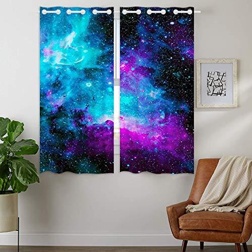 HommomH 42 x 63 inch Curtains (2 Panel) Grommet Top Darkening Blackout Room Nebula Galaxy Blue