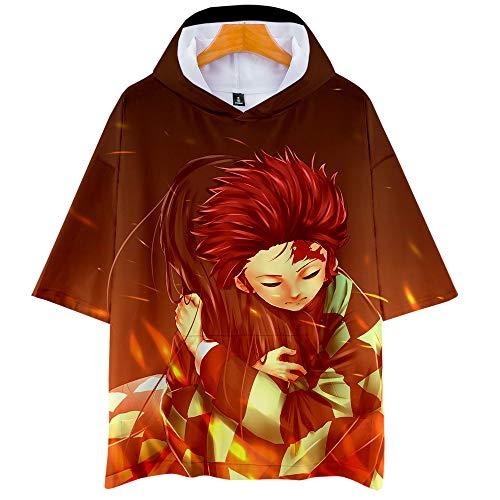 Douzxc Anime Heren T-Shirts Gym Training T-Shirt Anime Devil Blade 3D Hooded T-Shirt Met Korte Mouwen, Zomer Heren En Dames T-Shirt