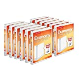 Cardinal Economy 3-Ring Binders, 5/8' Round Rings, Holds 125 Sheets, ClearVue Presentation View, Non-Stick, White, Carton of 12 (90601)