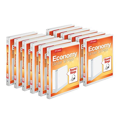 Cardinal Economy 3-Ring Binders, 1/2' Round Rings, Holds 125 Sheets, ClearVue Presentation View, Non-Stick, White, Carton of 12 (90601)