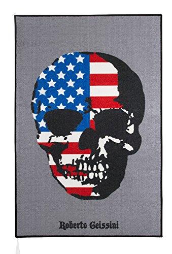Roberto Geissini Teppich American Skull, modern und stylish, leicht zu reinigen und aus robustem Material, Farbe:Bunt, Größe:100 x 150 cm