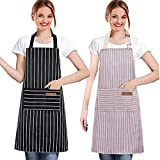 2 Pack Cotton Linen Adjustable Cooking Aprons for Women with 2 Pockets Kitchen Apron for Men Cute Adjustable Bib Chef Aprons