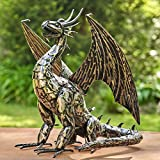 Zaer Ltd. Metal Dragon Statue Decoration (High Wings, Tail Down)