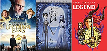 Weird Wonky Whimsical Kids Fantasy Collection: Lemony Snicket's A Series Of Unfortunate Events & Tim Burton's Corpse Bride & Legend (Pop Art Ltd Cover) 3 Feature Film DVD Bundle