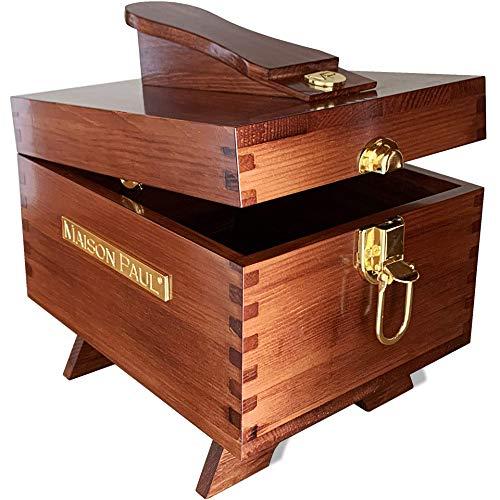 Maison Paul Coffret pour kit de nettoyage et de cirage de chaussures | boîte de rangement en bois pour crème, brosse, accessoire de cirage de chaussure