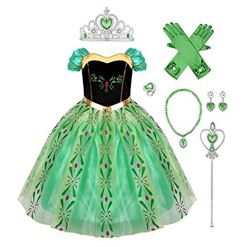 IBAKOM Costume Princesse Anna Enfant Filles Reine des Neiges Cosplay Costume Déguisement Carnaval Halloween Noël Cérémonie Festival Robe fête Vert 2 2-3 Ans