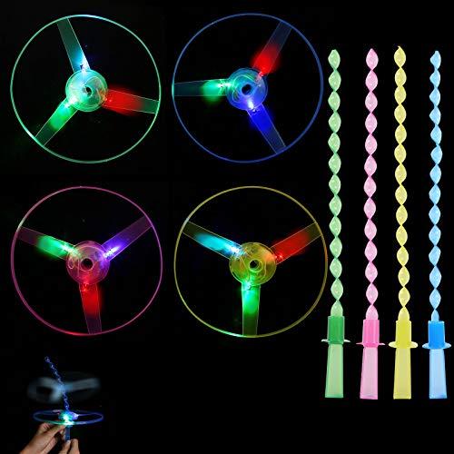 Herefun Favores de Fiesta para Niños, 12 Piezas Helicóptero Vuelo Juguete Volador Luminoso Arrow Rocket Copters con Luz LED Helicóptero Juguete Luminoso